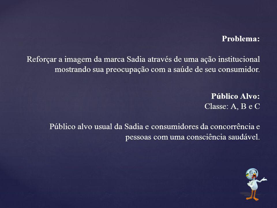 Problema: Reforçar a imagem da marca Sadia através de uma ação institucional mostrando sua preocupação com a saúde de seu consumidor.