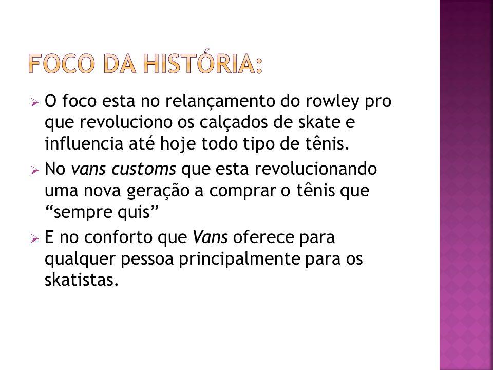 Foco da história: O foco esta no relançamento do rowley pro que revoluciono os calçados de skate e influencia até hoje todo tipo de tênis.