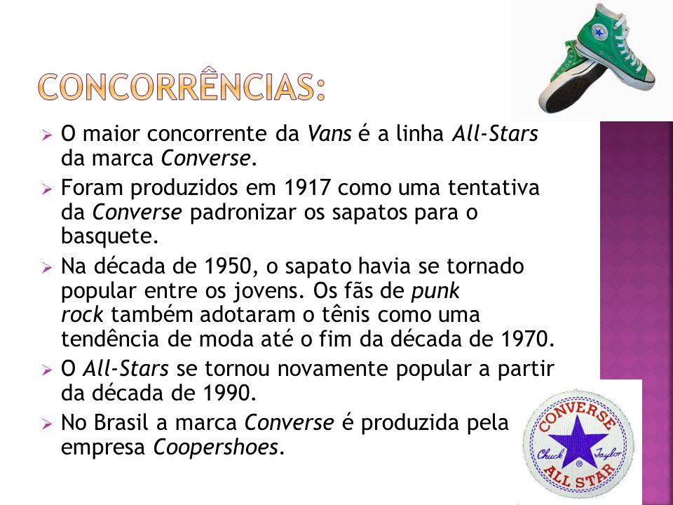 Concorrências: O maior concorrente da Vans é a linha All-Stars da marca Converse.