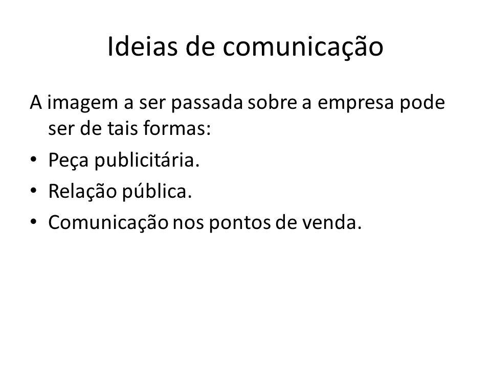 Ideias de comunicação A imagem a ser passada sobre a empresa pode ser de tais formas: Peça publicitária.
