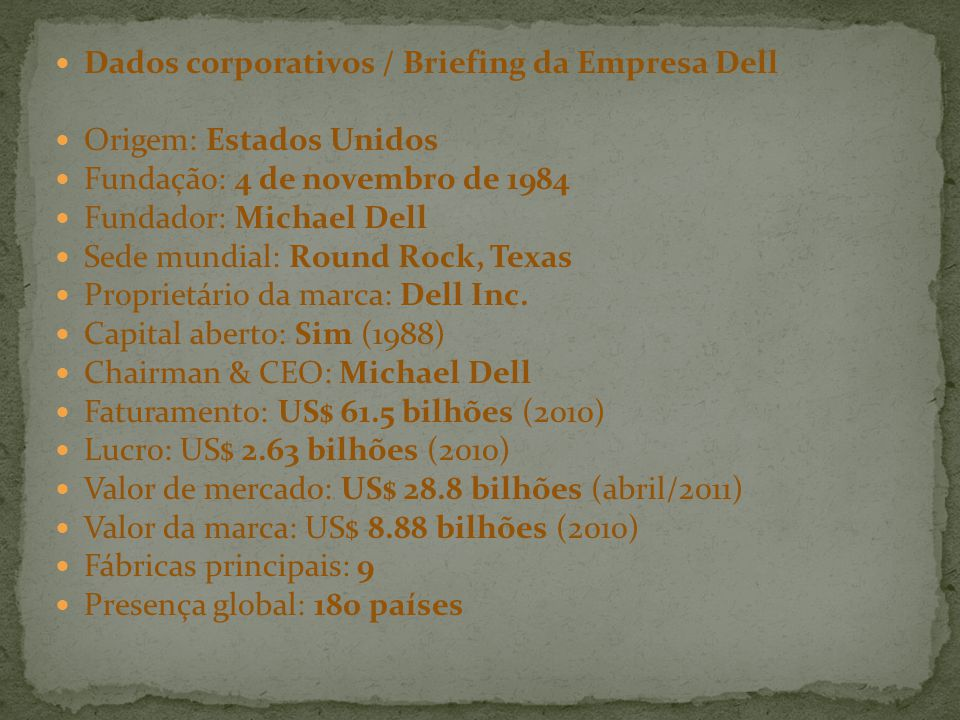 Dados corporativos / Briefing da Empresa Dell