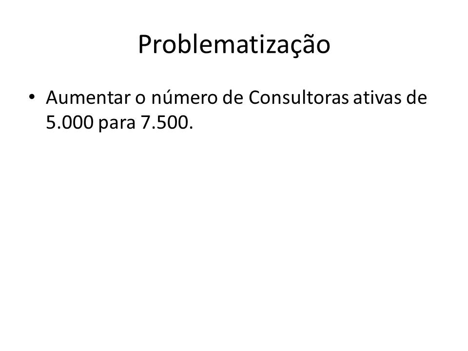 Problematização Aumentar o número de Consultoras ativas de 5.000 para 7.500.