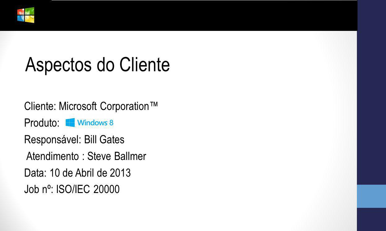 Aspectos do Cliente Cliente: Microsoft Corporation™ Produto: