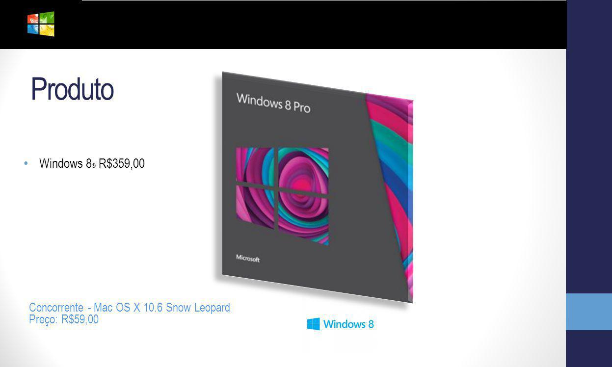 Produto Windows 8® R$359,00 Concorrente - Mac OS X 10.6 Snow Leopard