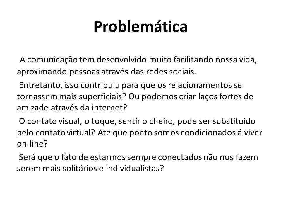 Problemática A comunicação tem desenvolvido muito facilitando nossa vida, aproximando pessoas através das redes sociais.