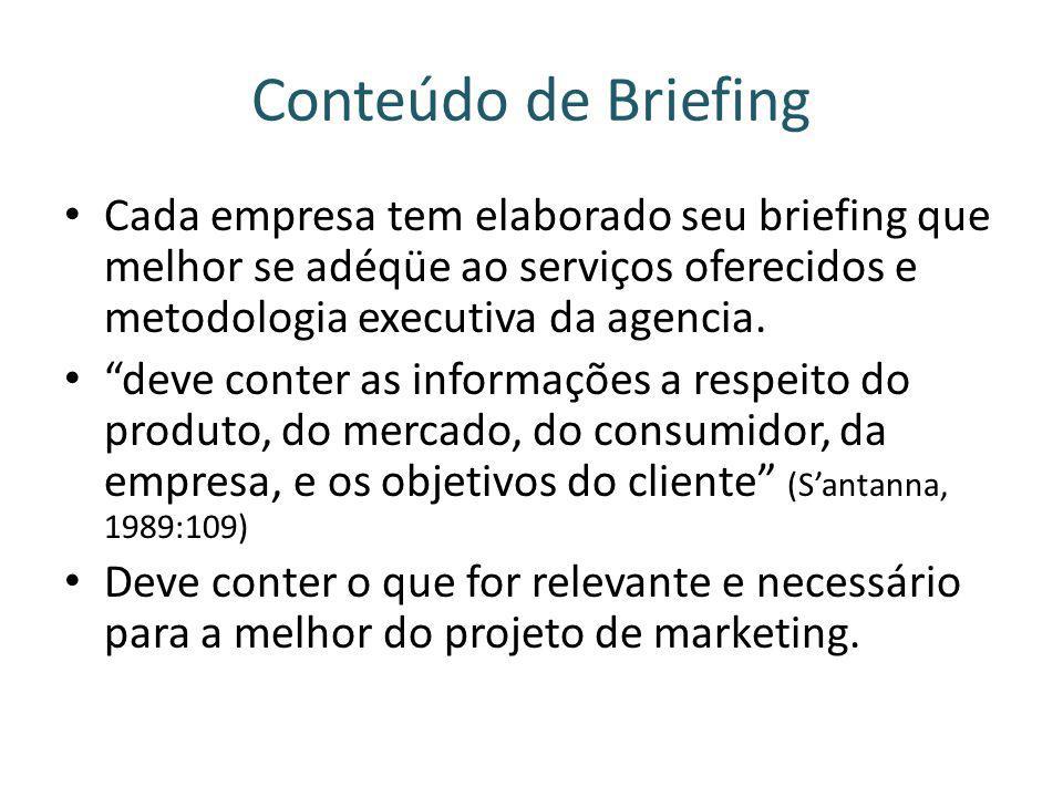 Conteúdo de Briefing Cada empresa tem elaborado seu briefing que melhor se adéqüe ao serviços oferecidos e metodologia executiva da agencia.