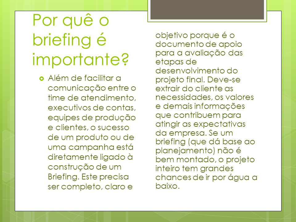 Por quê o briefing é importante