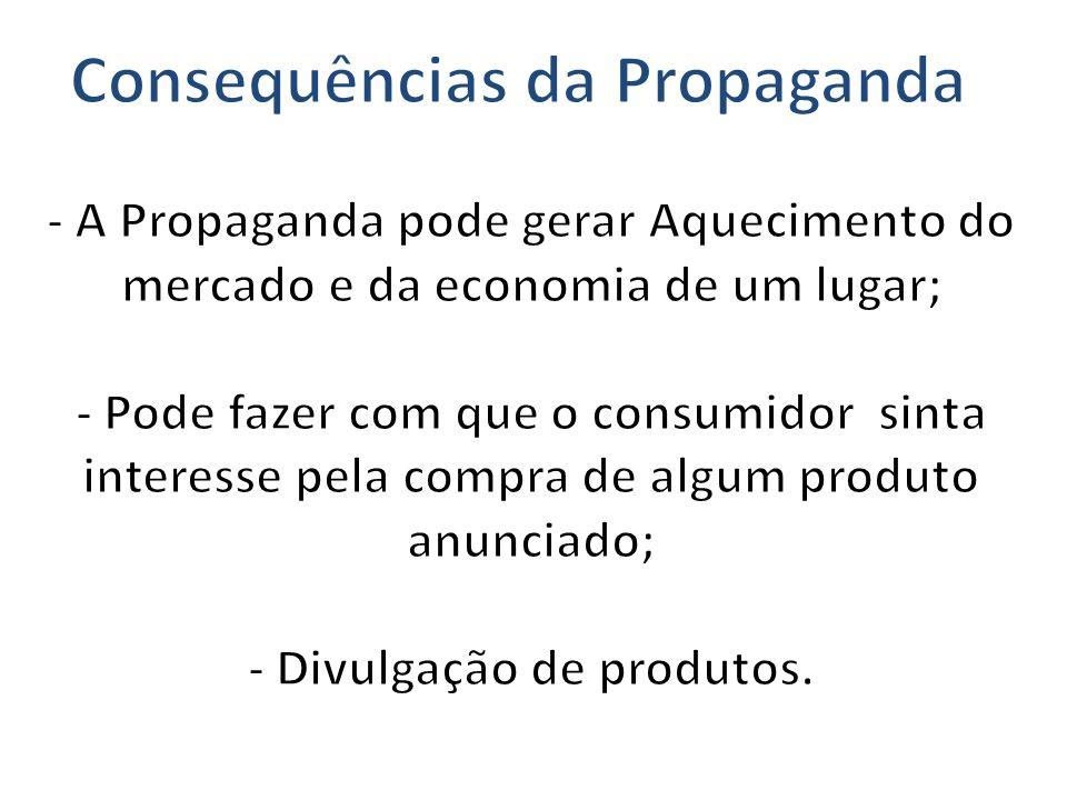 Consequências da Propaganda - Divulgação de produtos.