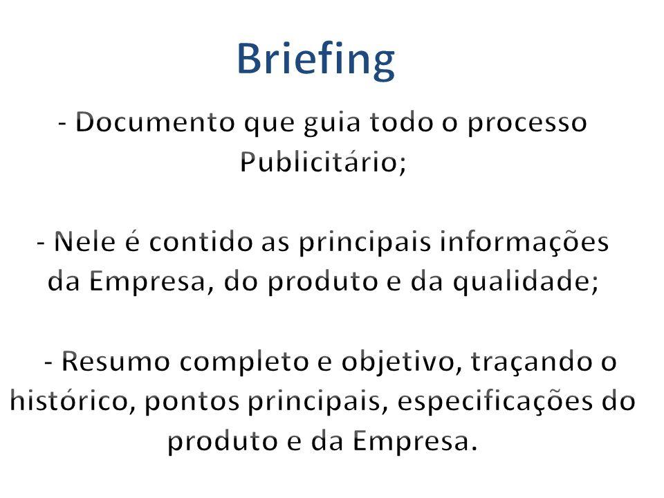 Briefing - Documento que guia todo o processo Publicitário;