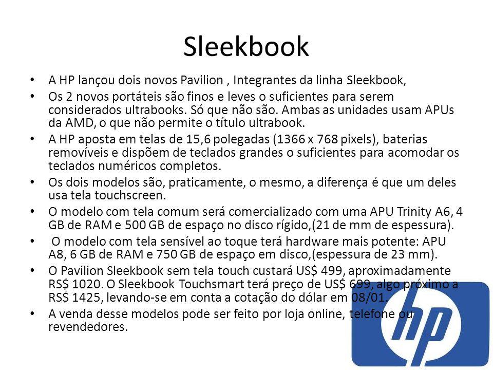 Sleekbook A HP lançou dois novos Pavilion , Integrantes da linha Sleekbook,