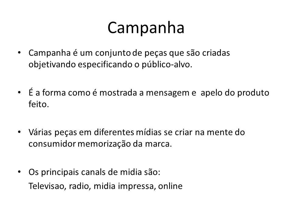 Campanha Campanha é um conjunto de peças que são criadas objetivando especificando o público-alvo.