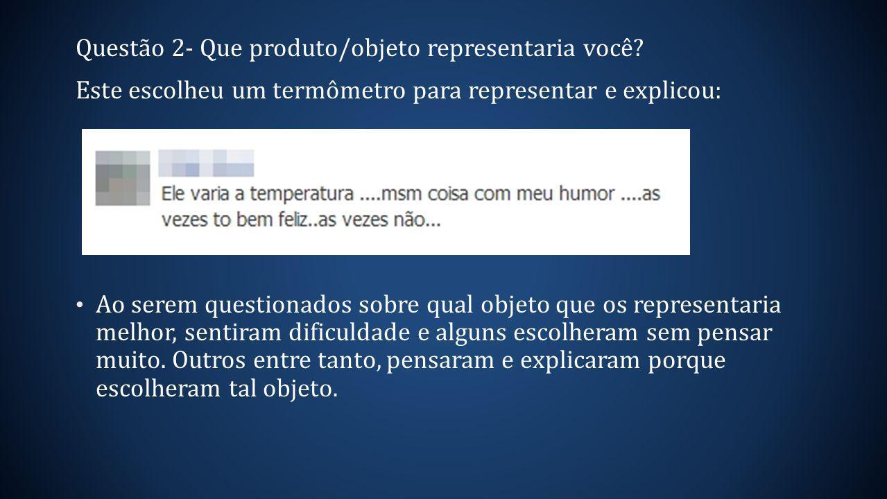 Questão 2- Que produto/objeto representaria você