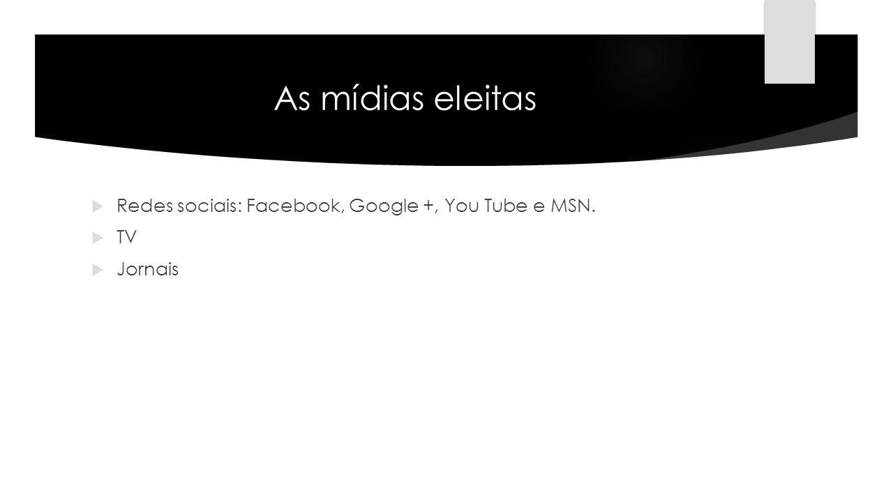 As mídias eleitas Redes sociais: Facebook, Google +, You Tube e MSN.