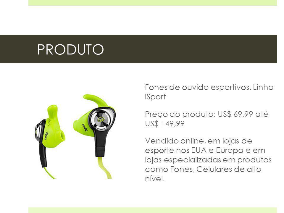PRODUTO Fones de ouvido esportivos. Linha iSport