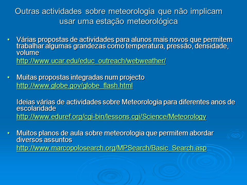 Outras actividades sobre meteorologia que não implicam usar uma estação meteorológica