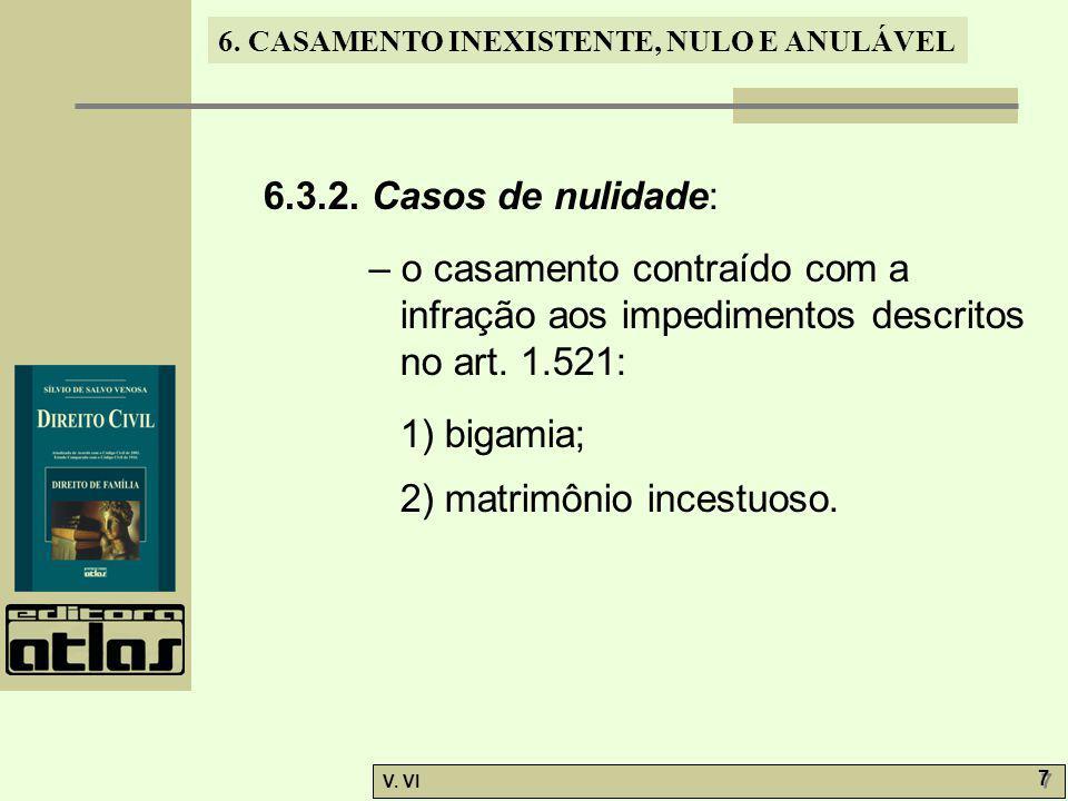 6.3.2. Casos de nulidade: – o casamento contraído com a infração aos impedimentos descritos no art. 1.521:
