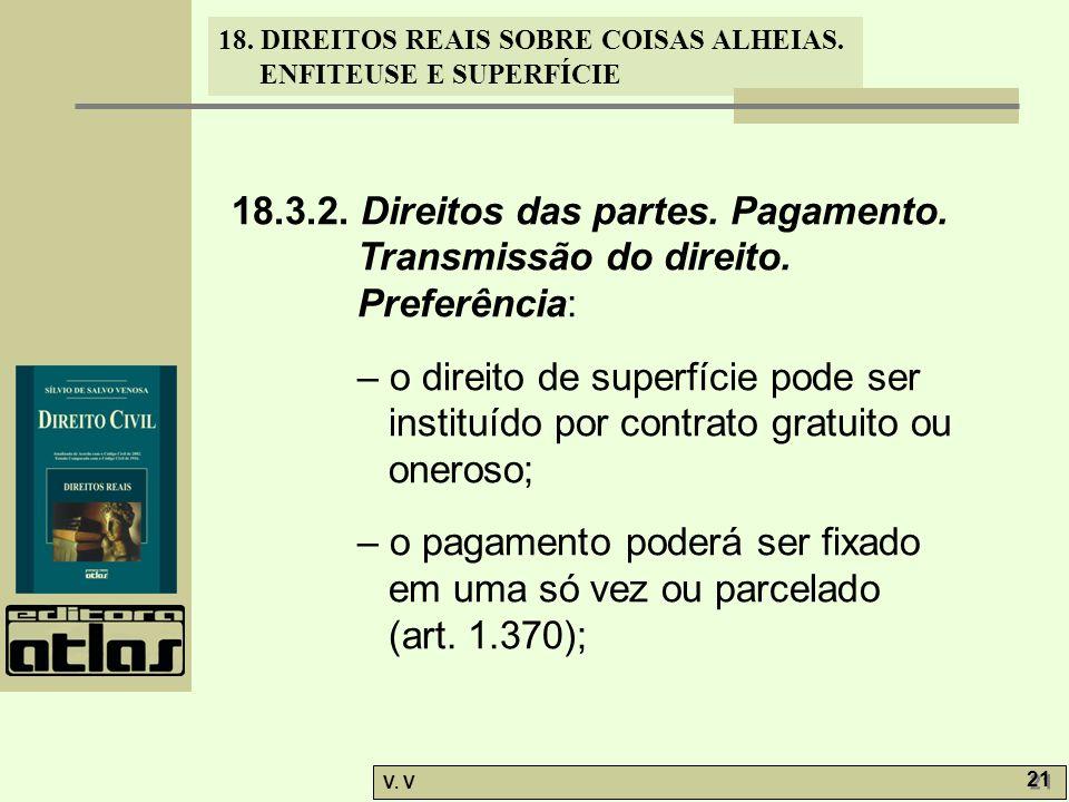 18. 3. 2. Direitos das partes. Pagamento. Transmissão do direito