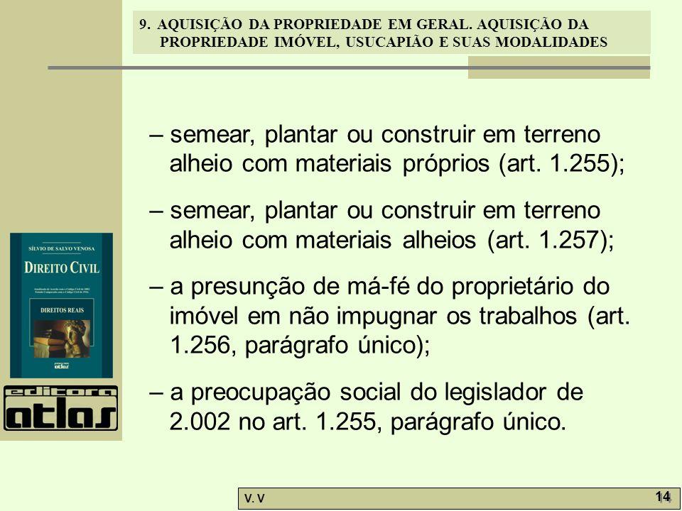 – semear, plantar ou construir em terreno alheio com materiais próprios (art. 1.255);