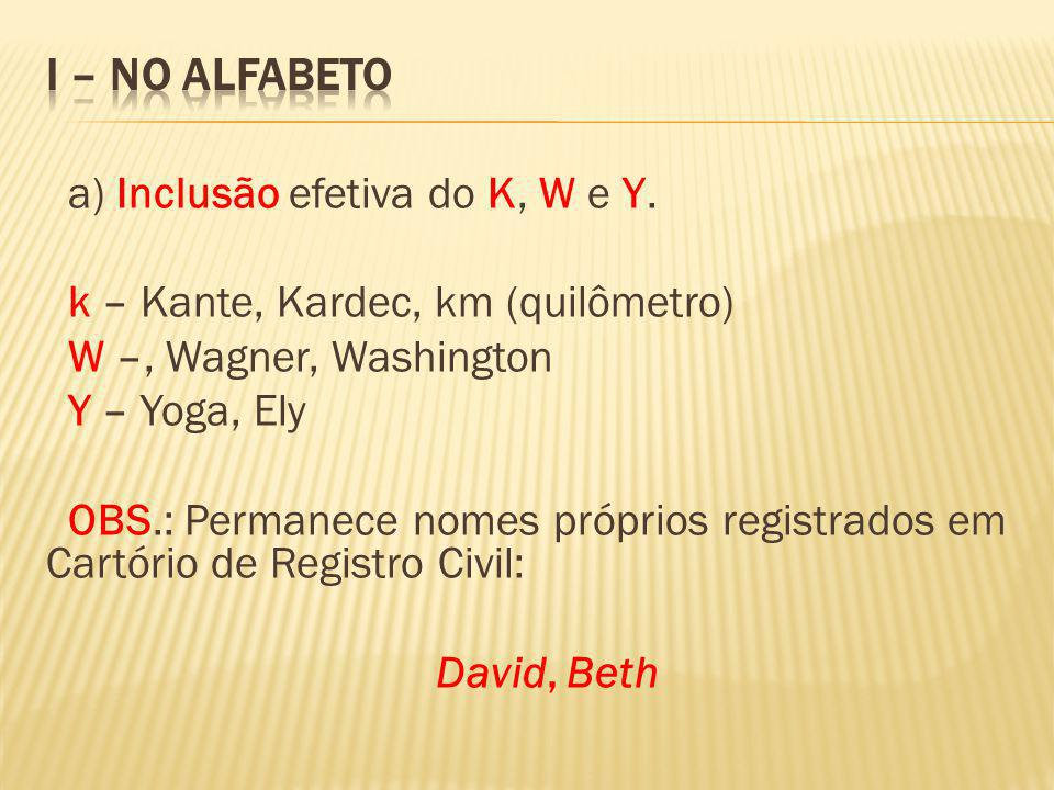 I – NO ALFABETO a) Inclusão efetiva do K, W e Y.