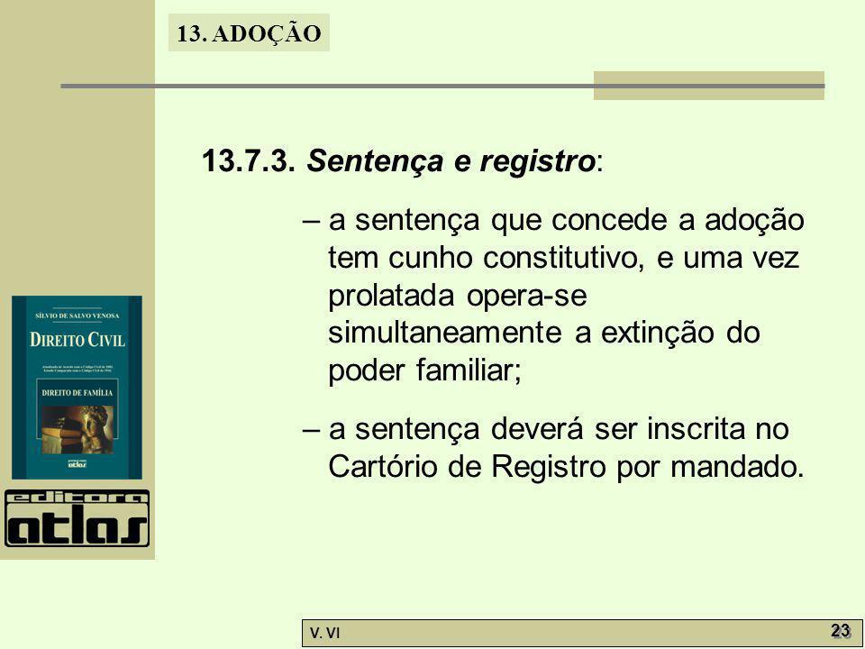 13.7.3. Sentença e registro: