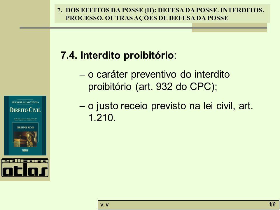 7.4. Interdito proibitório: