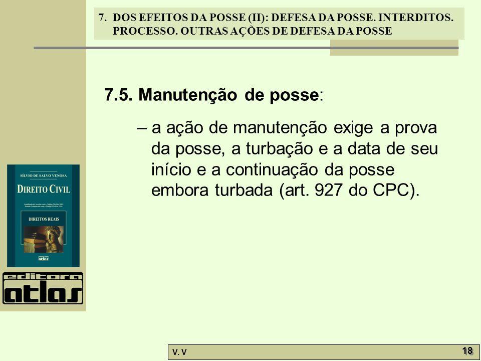 7.5. Manutenção de posse: