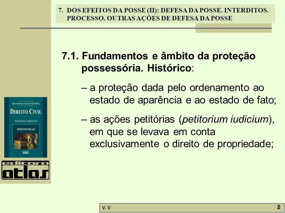 7.1. Fundamentos e âmbito da proteção possessória. Histórico: