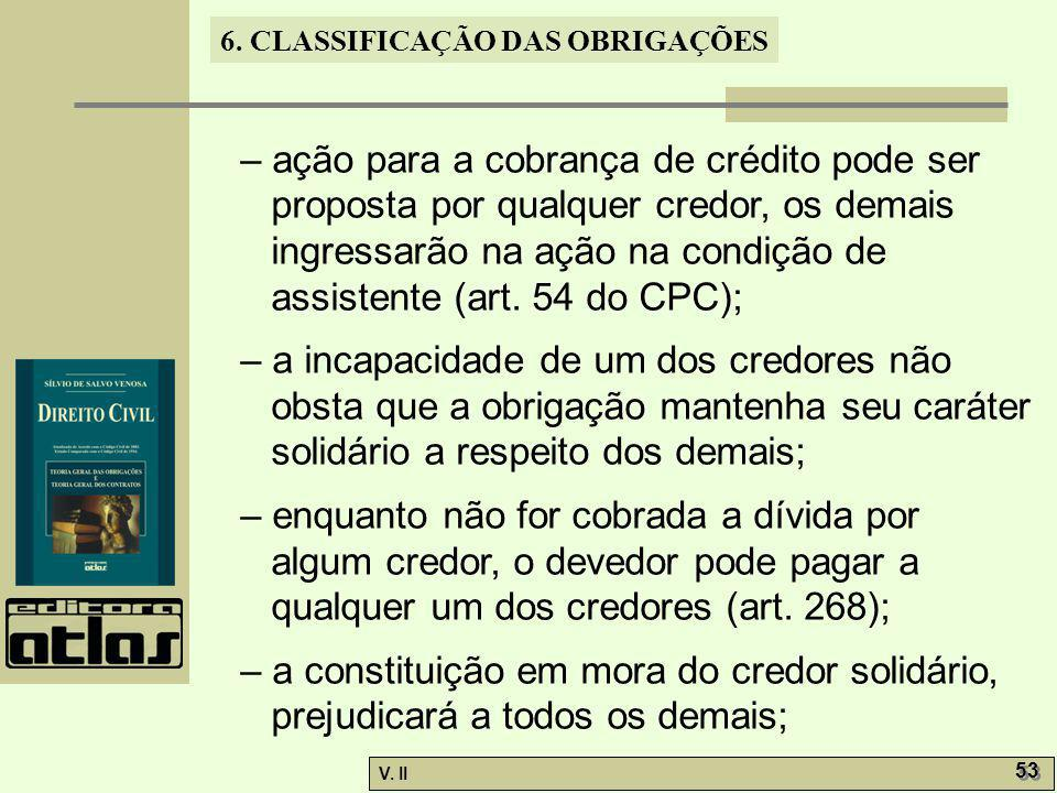– ação para a cobrança de crédito pode ser proposta por qualquer credor, os demais ingressarão na ação na condição de assistente (art. 54 do CPC);