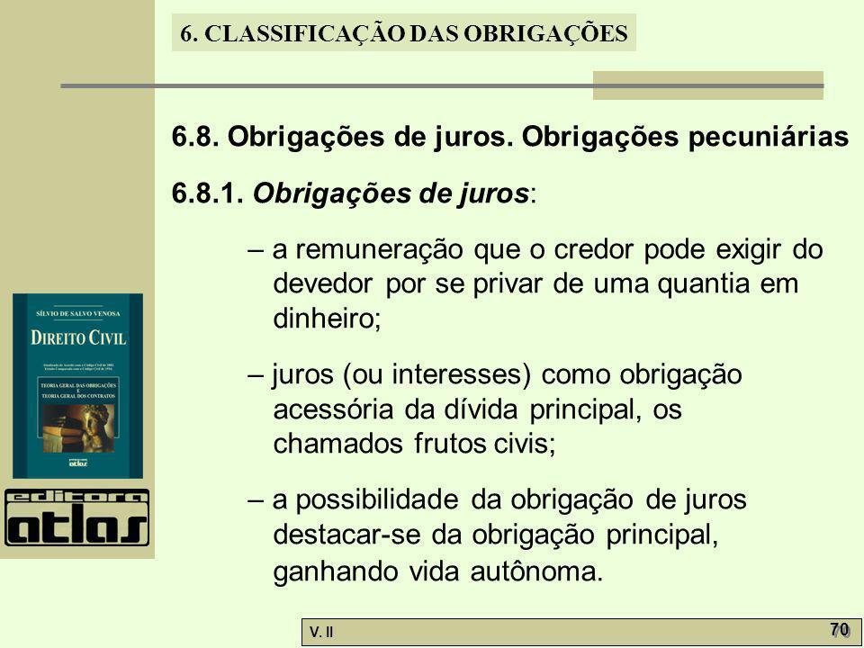 6.8. Obrigações de juros. Obrigações pecuniárias