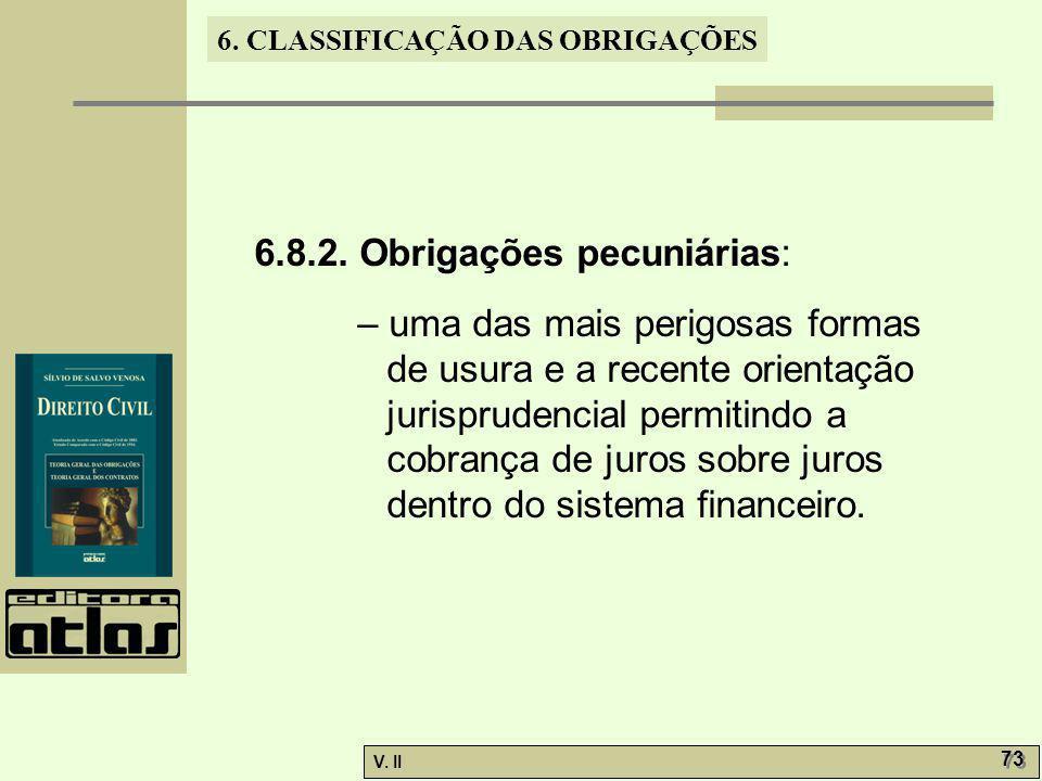 6.8.2. Obrigações pecuniárias: