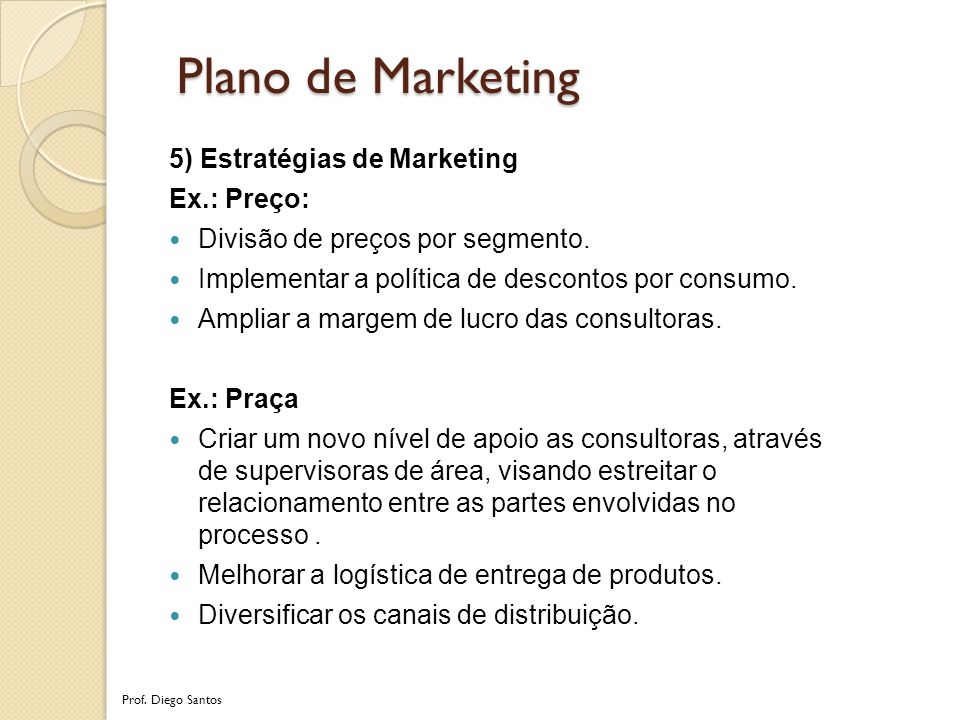 Plano de Marketing 5) Estratégias de Marketing Ex.: Preço: