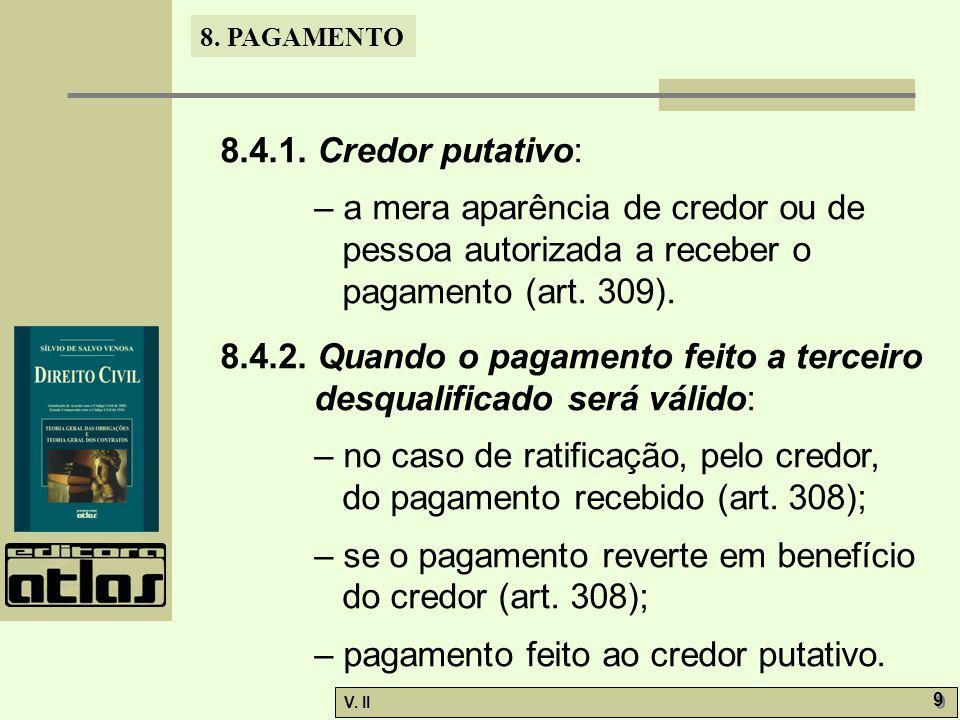 8.4.1. Credor putativo: – a mera aparência de credor ou de pessoa autorizada a receber o pagamento (art. 309).