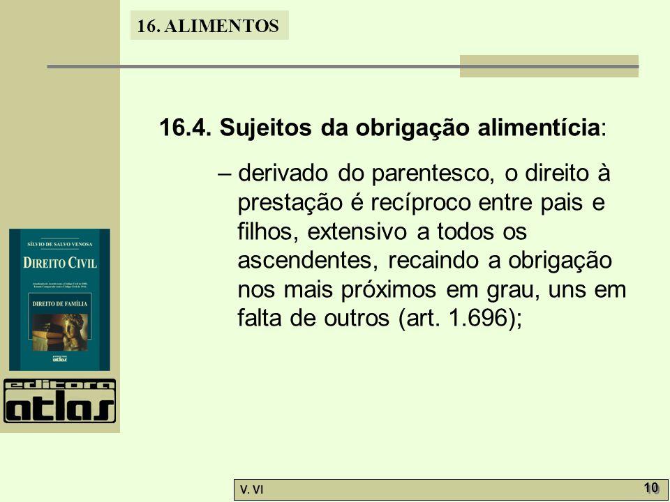 16.4. Sujeitos da obrigação alimentícia: