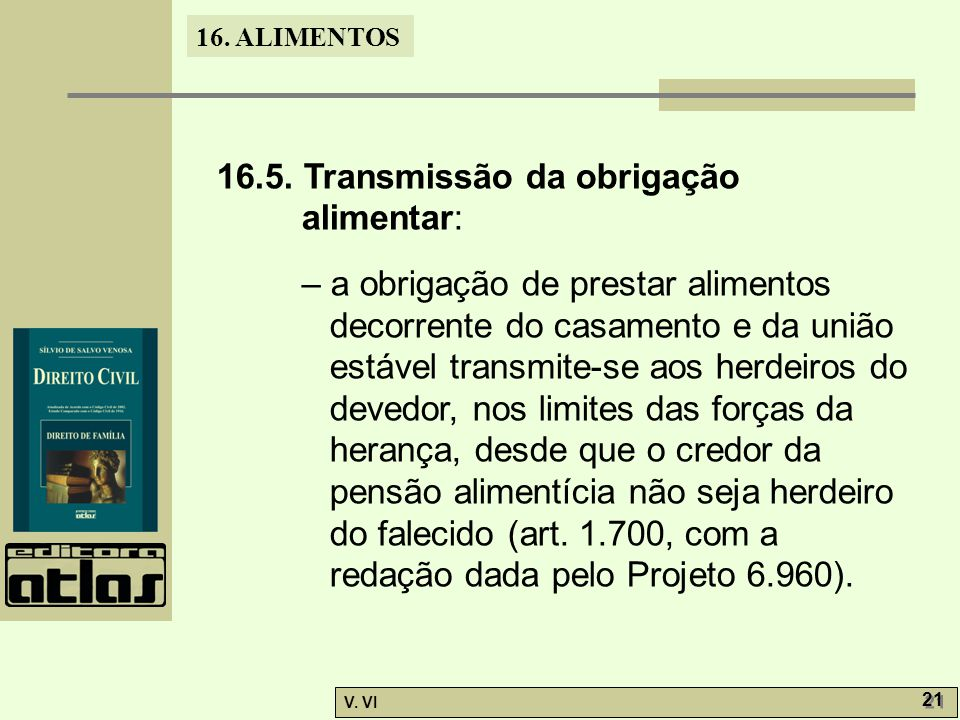 16.5. Transmissão da obrigação alimentar: