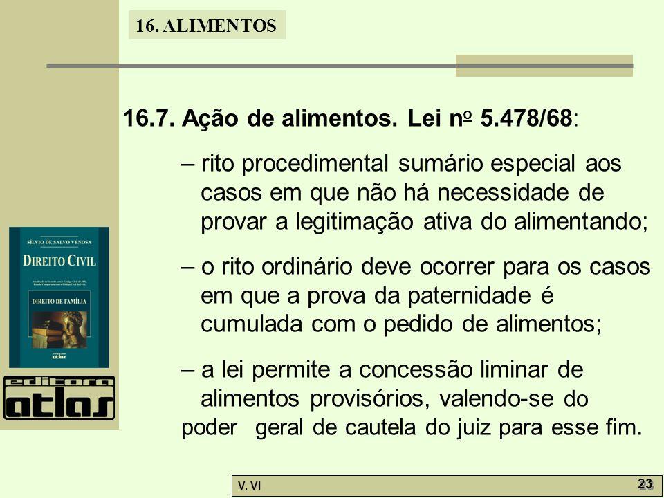 16.7. Ação de alimentos. Lei no 5.478/68: