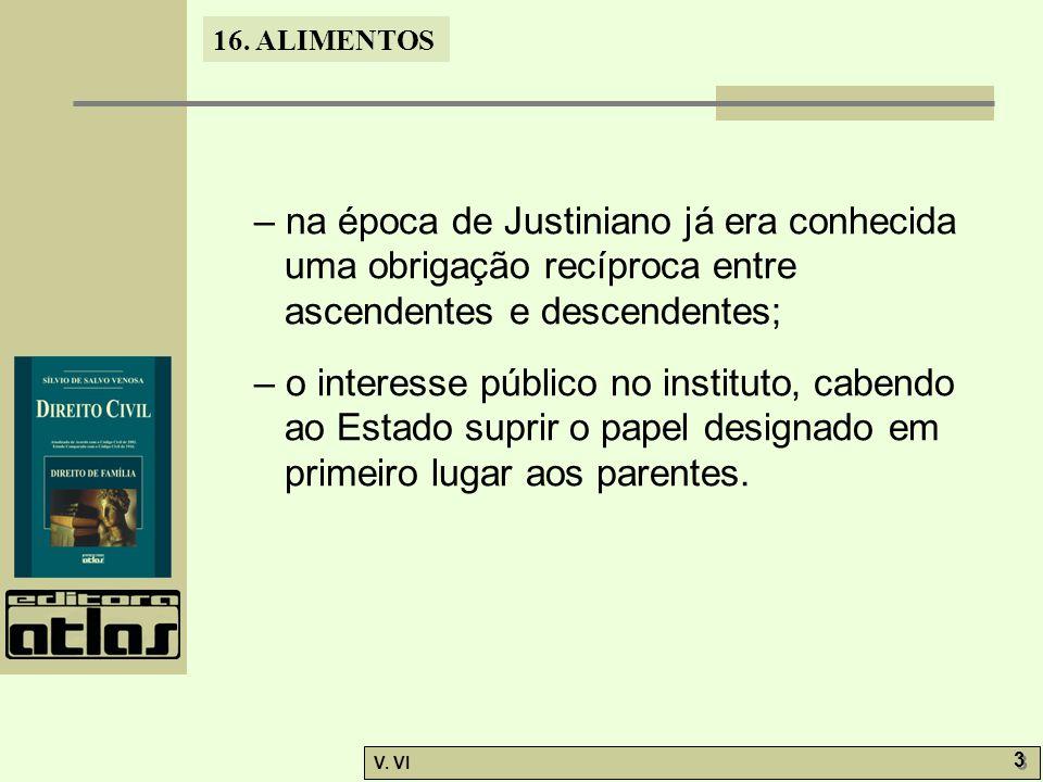 – na época de Justiniano já era conhecida uma obrigação recíproca entre ascendentes e descendentes;