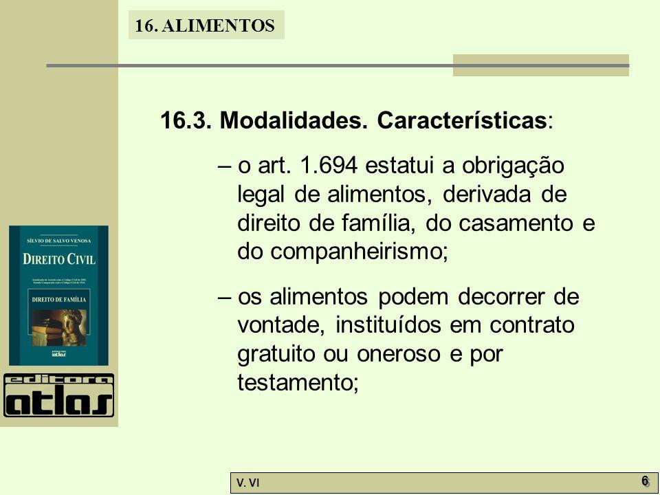 16.3. Modalidades. Características: