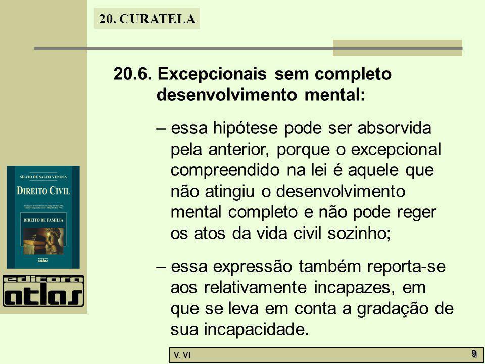20.6. Excepcionais sem completo desenvolvimento mental:
