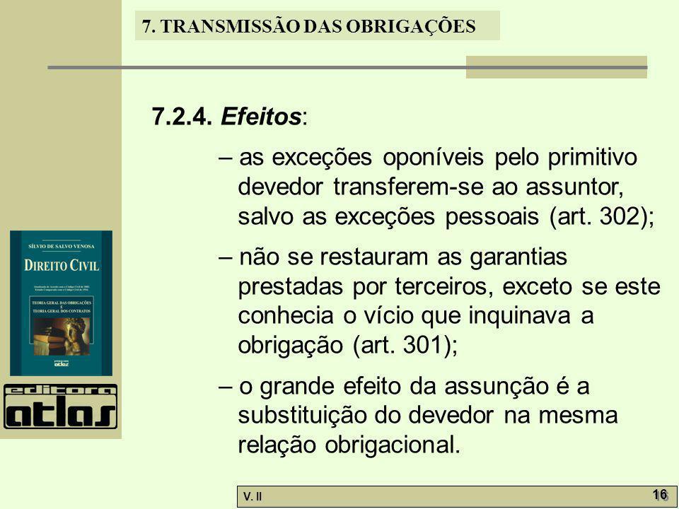 7.2.4. Efeitos: – as exceções oponíveis pelo primitivo devedor transferem-se ao assuntor, salvo as exceções pessoais (art. 302);