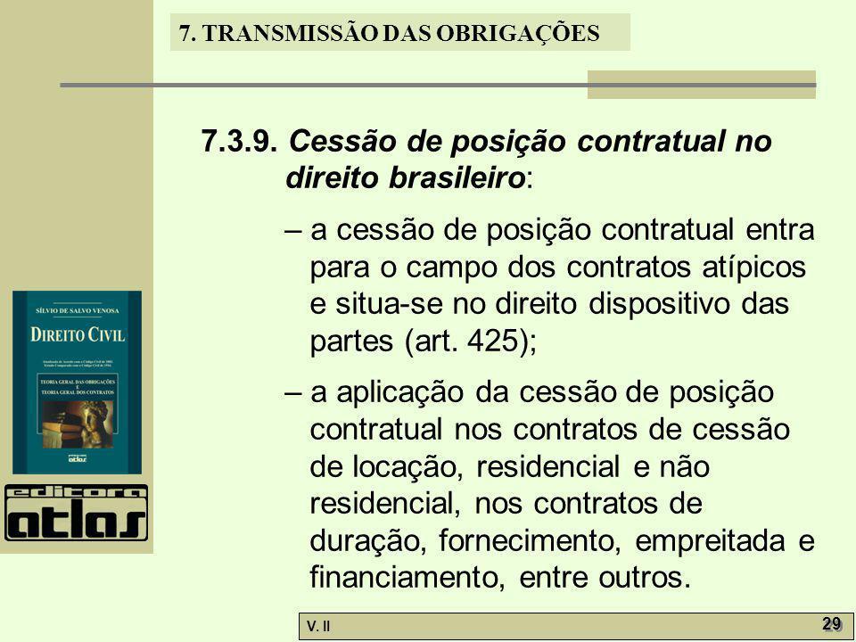 7.3.9. Cessão de posição contratual no direito brasileiro: