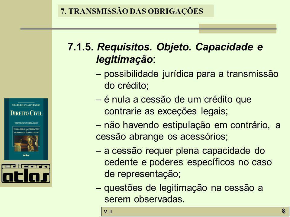 7.1.5. Requisitos. Objeto. Capacidade e legitimação: