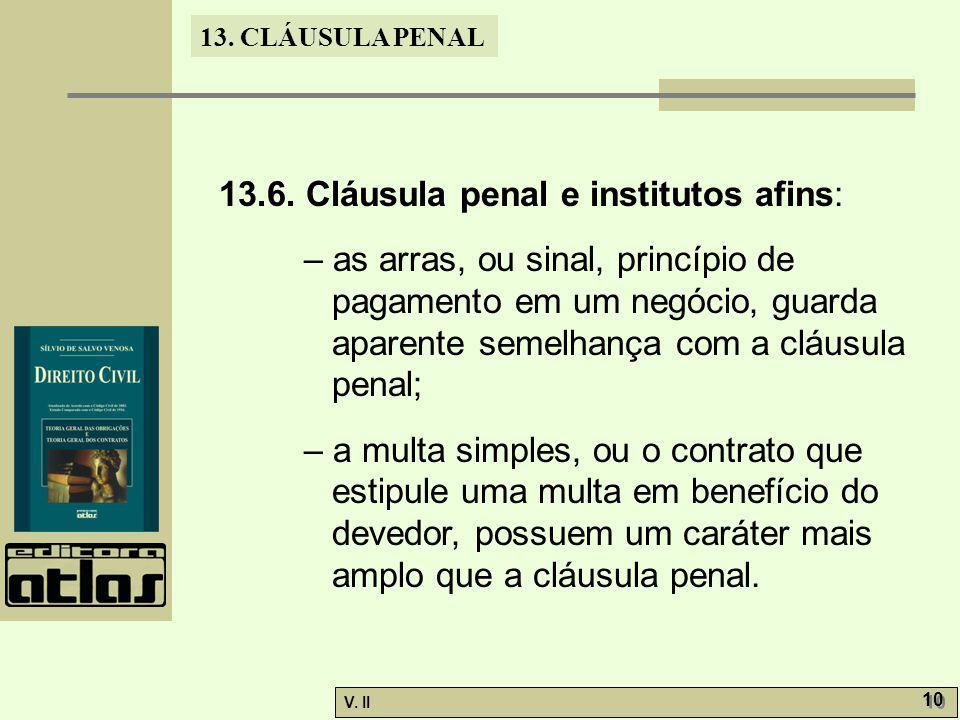 13.6. Cláusula penal e institutos afins: