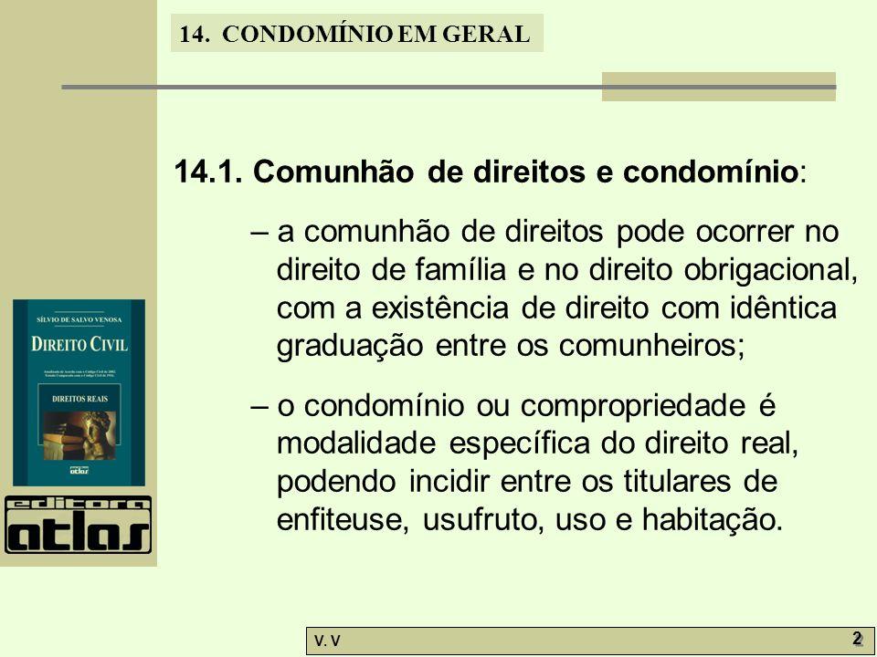 14.1. Comunhão de direitos e condomínio: