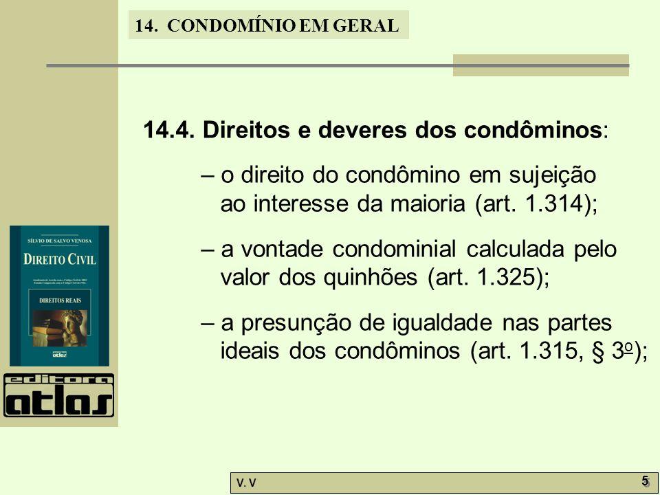 14.4. Direitos e deveres dos condôminos:
