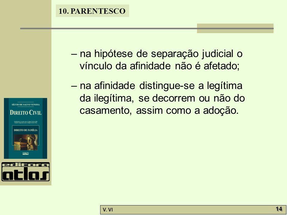 – na hipótese de separação judicial o vínculo da afinidade não é afetado;