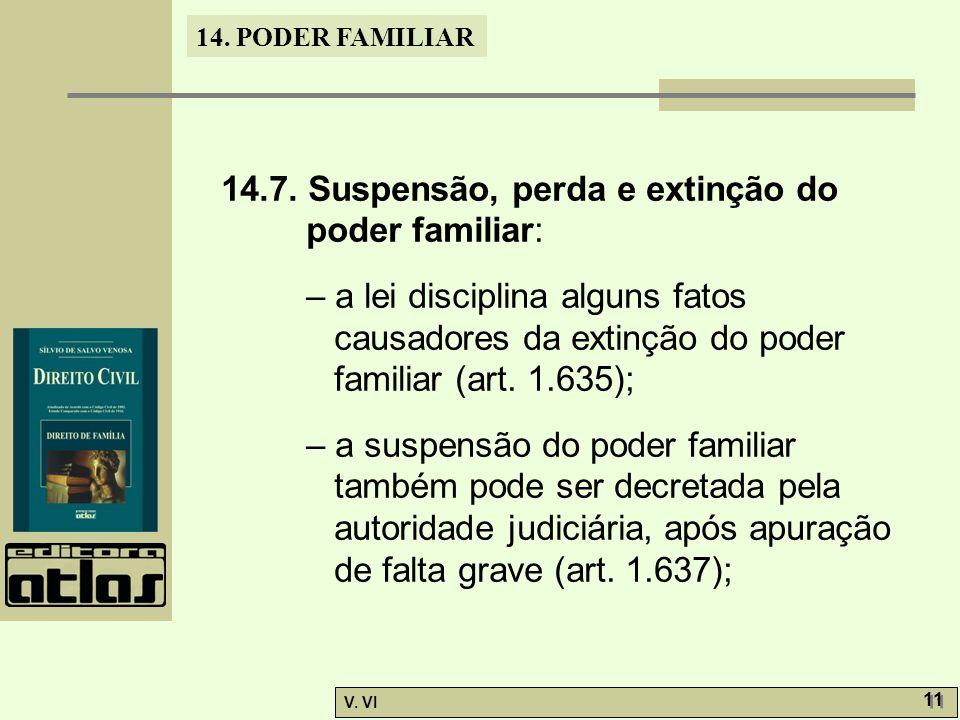 14.7. Suspensão, perda e extinção do poder familiar: