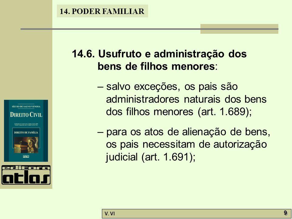14.6. Usufruto e administração dos bens de filhos menores: