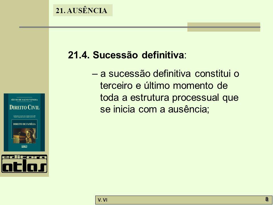 21.4. Sucessão definitiva: