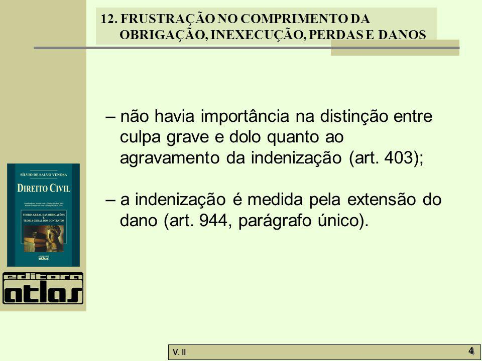 – não havia importância na distinção entre culpa grave e dolo quanto ao agravamento da indenização (art. 403);