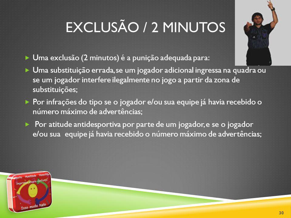 EXCLUSÃO / 2 MINUTOS Uma exclusão (2 minutos) é a punição adequada para: